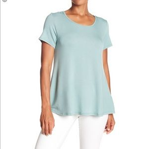 Bobeau french terry tie back top in green